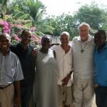 House staff: Jean Baptise, Rosebert, Jean Jaqui, Jean Marie, Fr. Frank, and Rolland