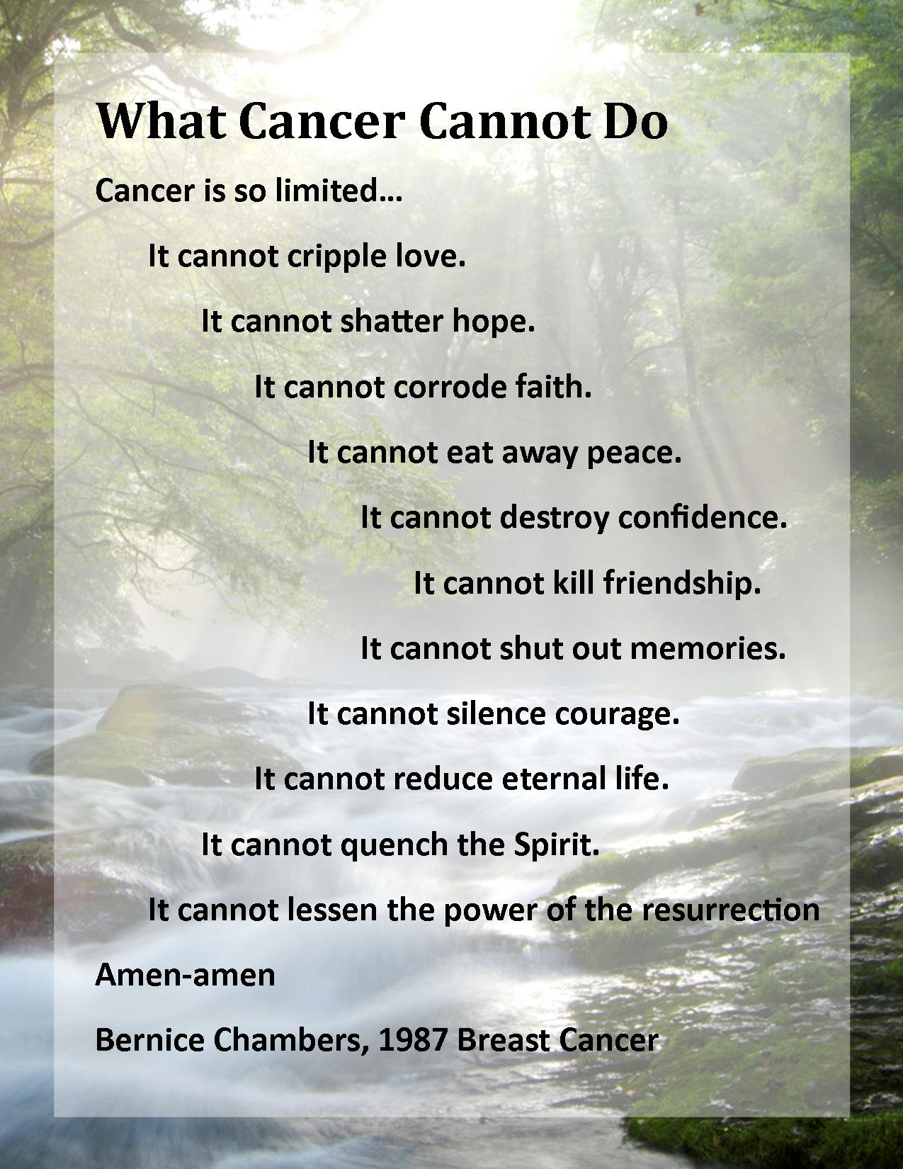 What cancer cannot do click for details what cancer cannot do candice