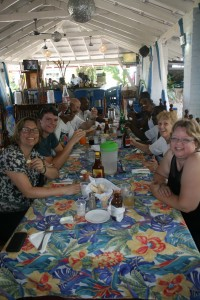 Outreach to Haiti House Staff and OLOL travelers eating lunch at beach restaurant