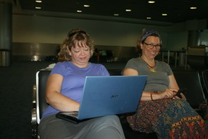 Tanya working on the last blog at Miami Airport